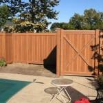 Cedar Wood Grain PVC Vinyl Fence in Oklahoma Style